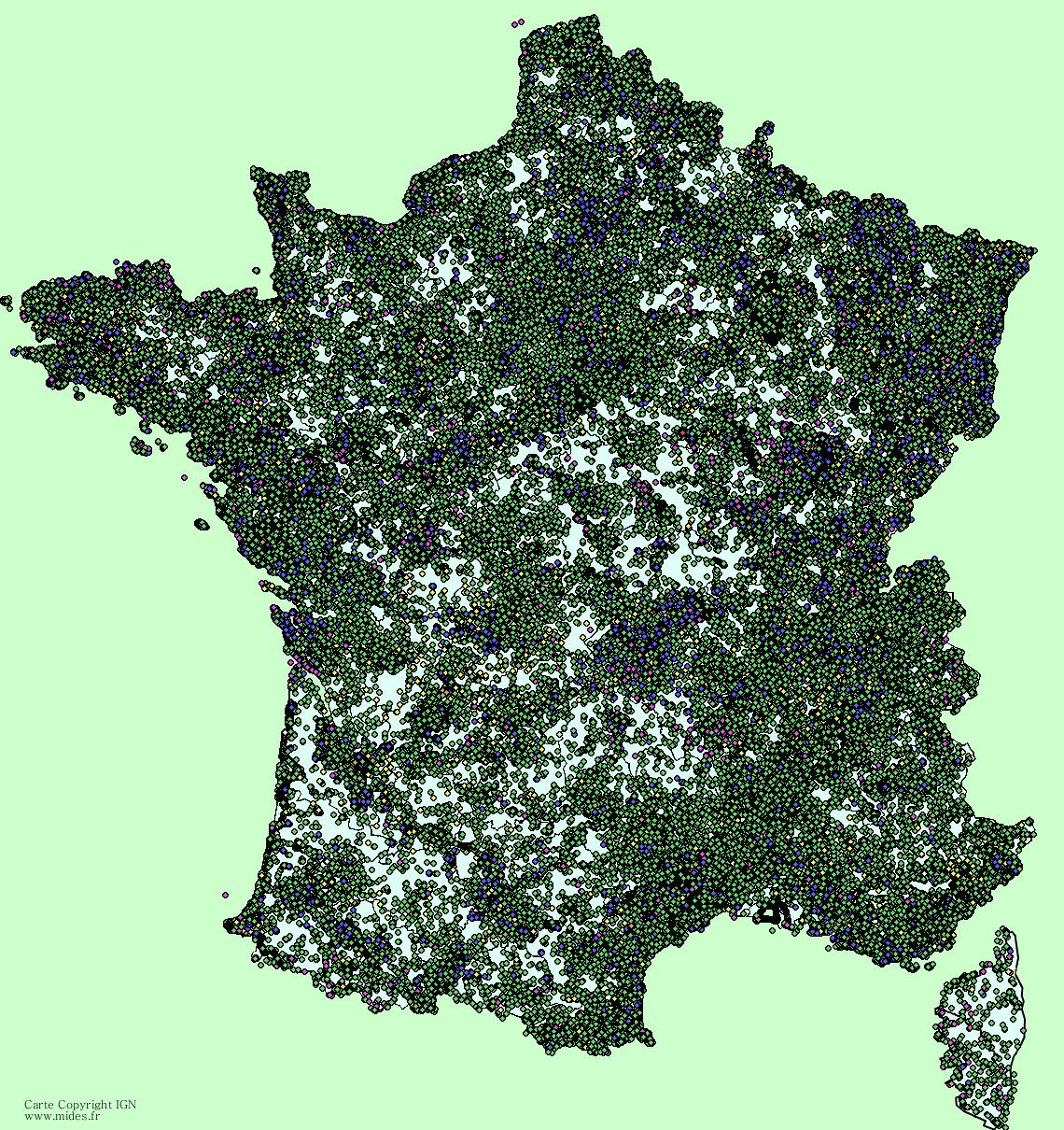 Carte intéractive des caches existantes en France